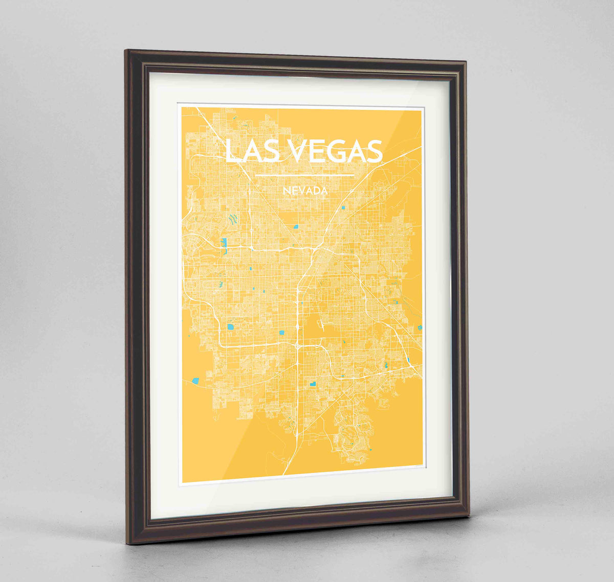 "Framed Las Vegas Map Art Print 24x36"" Traditional Walnut frame Point Two Design Group"