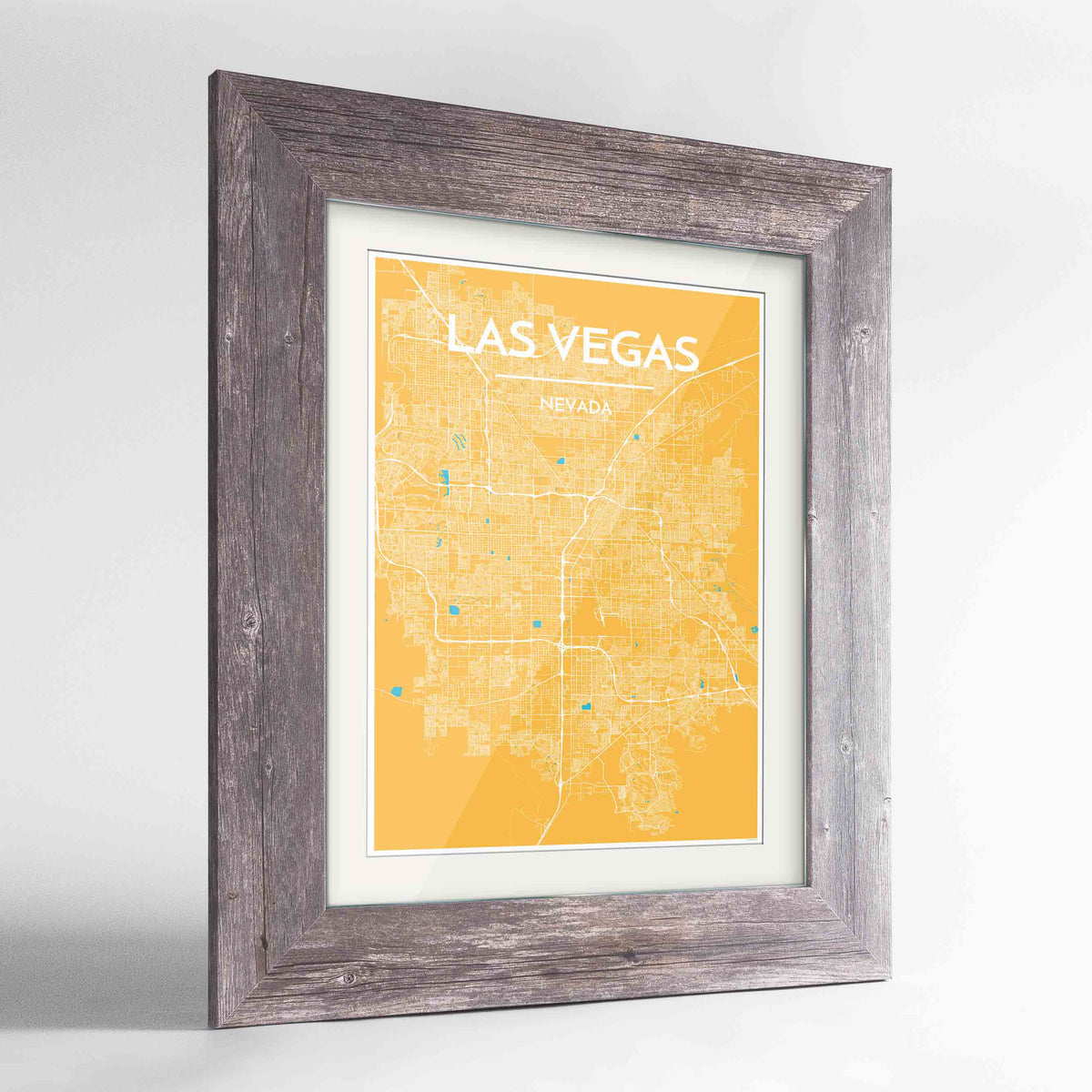 "Framed Las Vegas Map Art Print 24x36"" Western Grey frame Point Two Design Group"