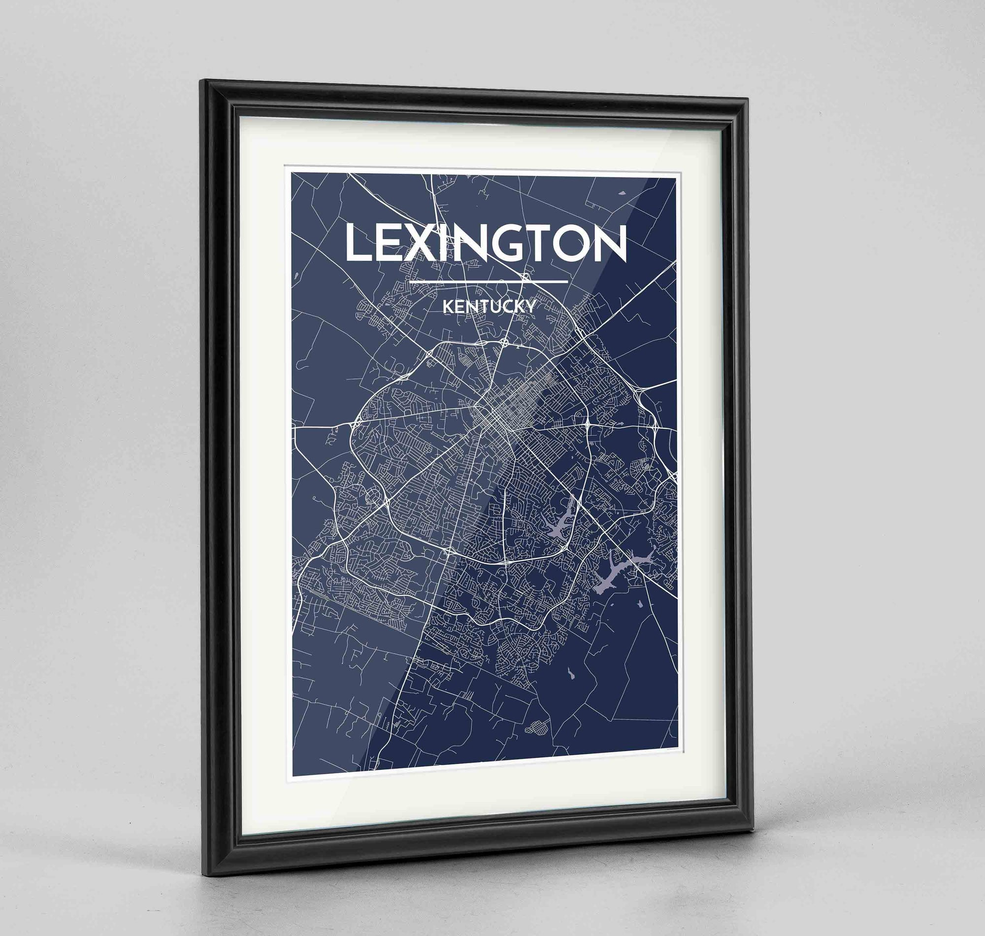 "Framed Lexington Map Art Print 24x36"" Traditional Black frame Point Two Design Group"