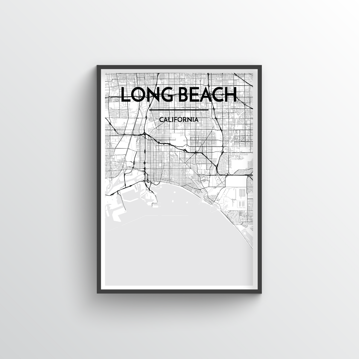 Long Beach Map Art Print - Point Two Design