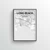 Long Beach City Map Art Print - Point Two Design - Black & White Print