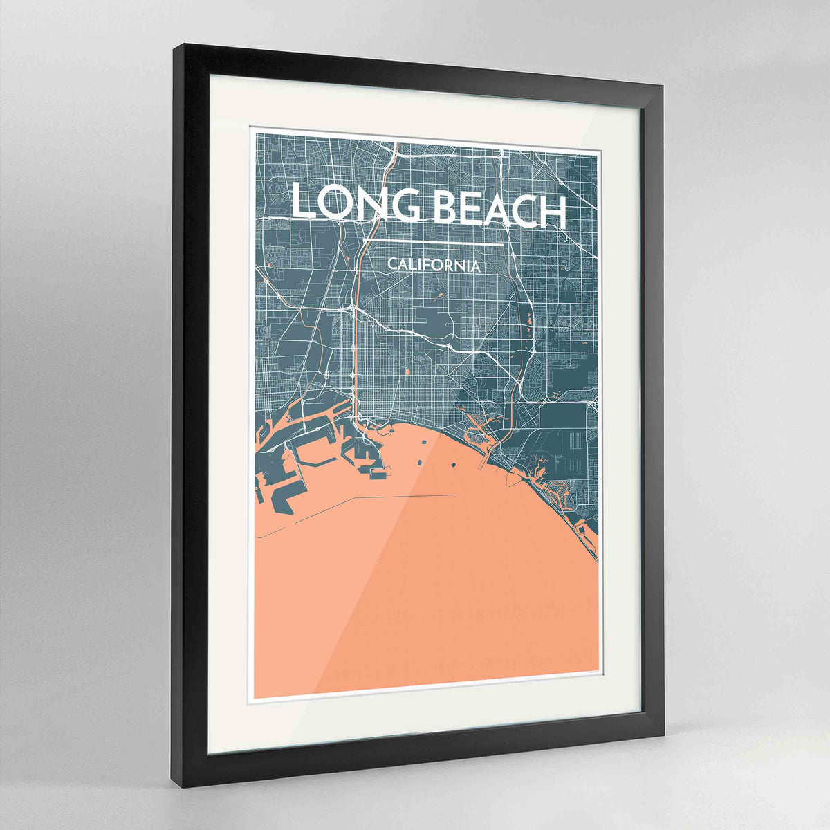 "Framed Long Beach Map Art Print 24x36"" Contemporary Black frame Point Two Design Group"