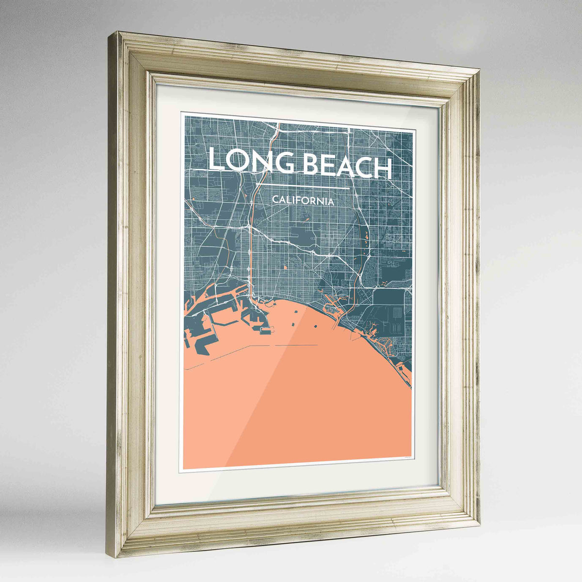 "Framed Long Beach Map Art Print 24x36"" Champagne frame Point Two Design Group"