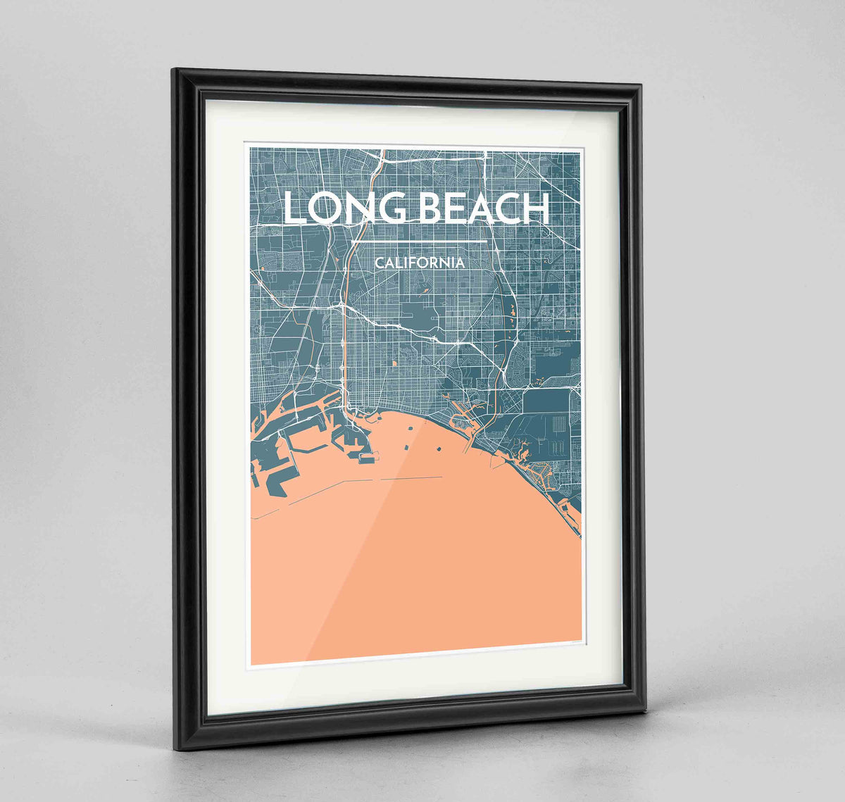 "Framed Long Beach Map Art Print 24x36"" Traditional Black frame Point Two Design Group"