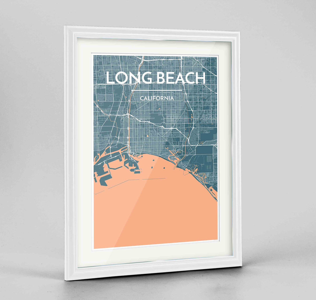 "Framed Long Beach Map Art Print 24x36"" Traditional White frame Point Two Design Group"