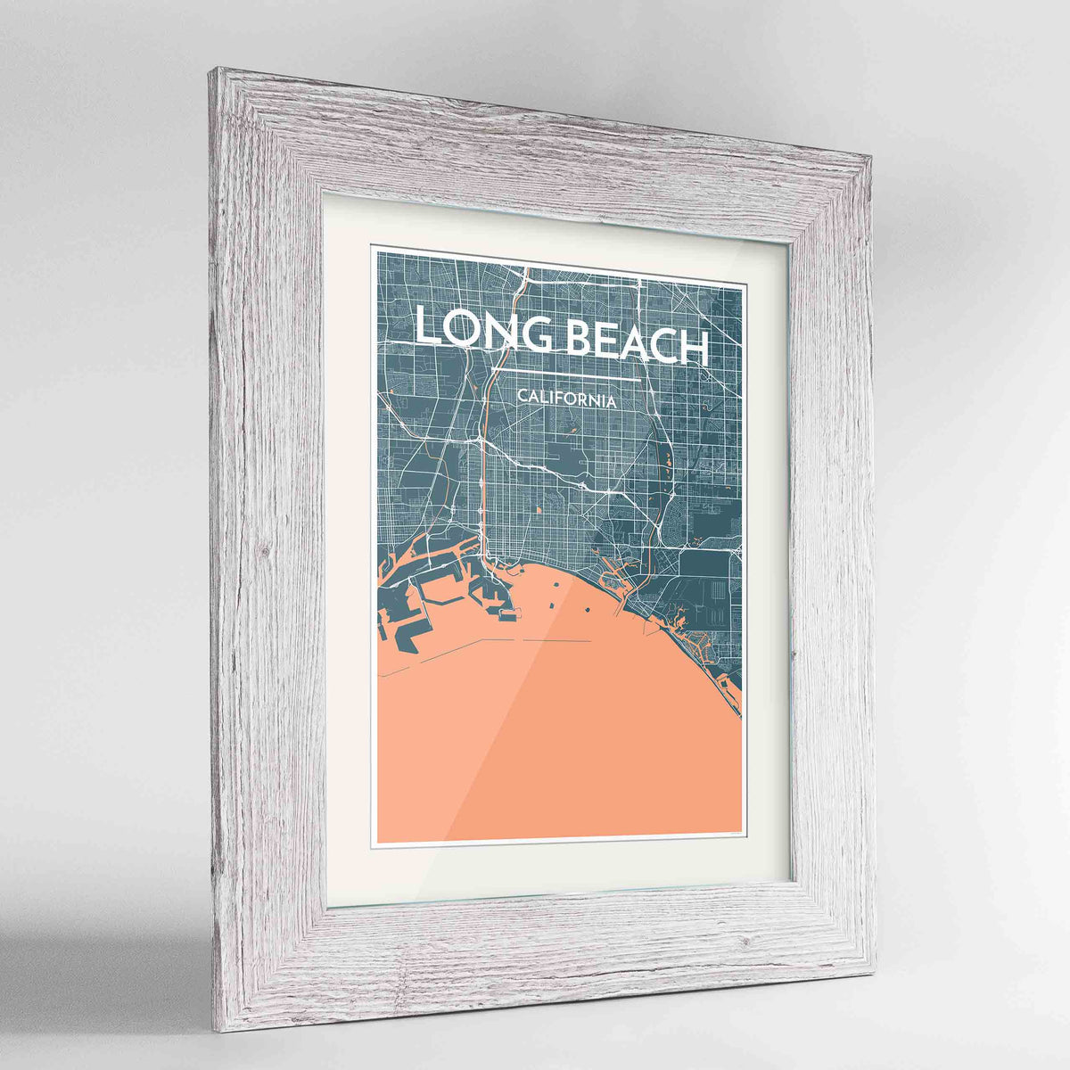 "Framed Long Beach Map Art Print 24x36"" Western White frame Point Two Design Group"
