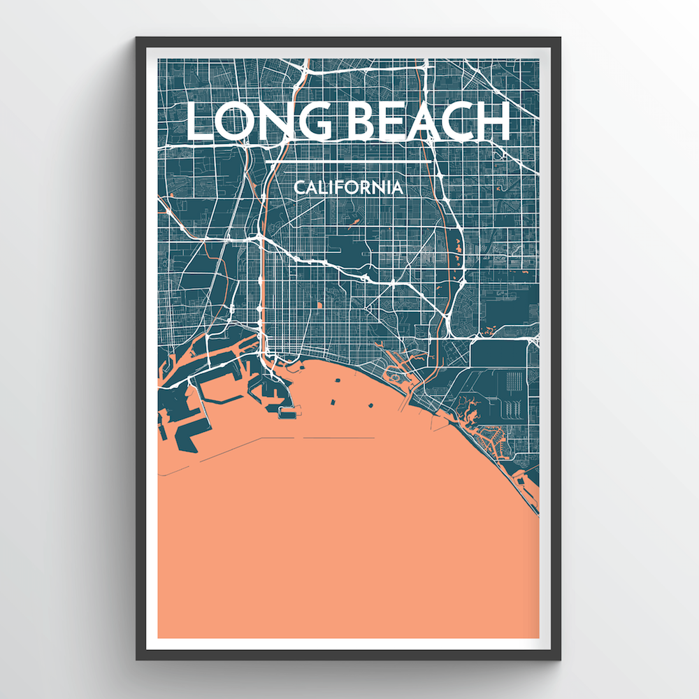 Long Beach City Map Art Print - Point Two Design
