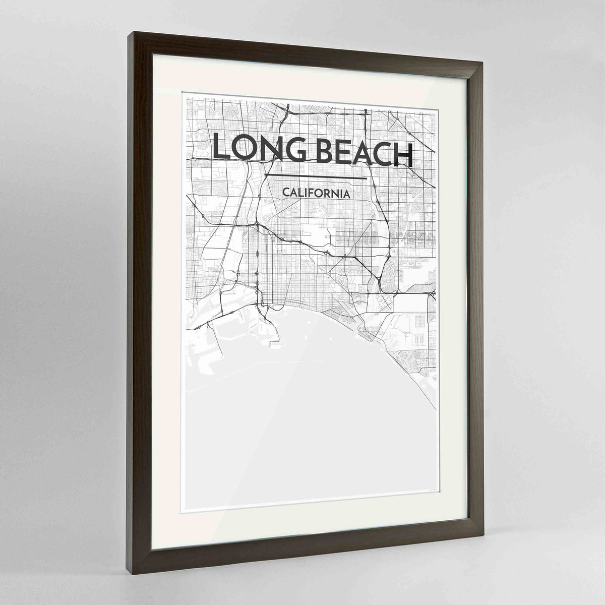 "Framed Long Beach Map Art Print 24x36"" Contemporary Walnut frame Point Two Design Group"