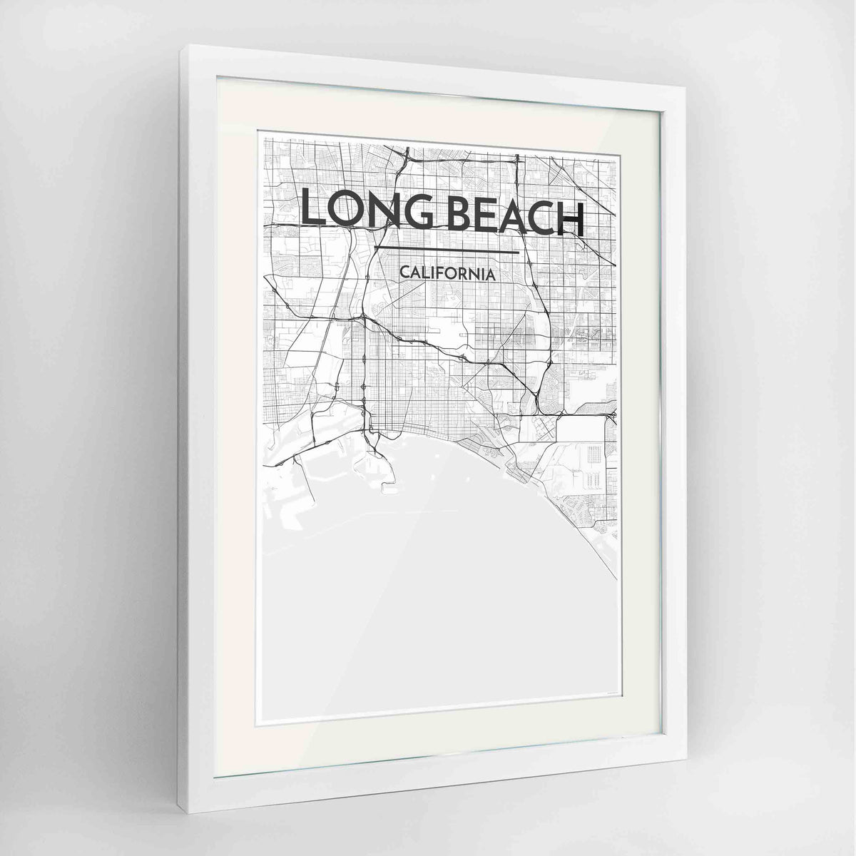"Framed Long Beach Map Art Print 24x36"" Contemporary White frame Point Two Design Group"
