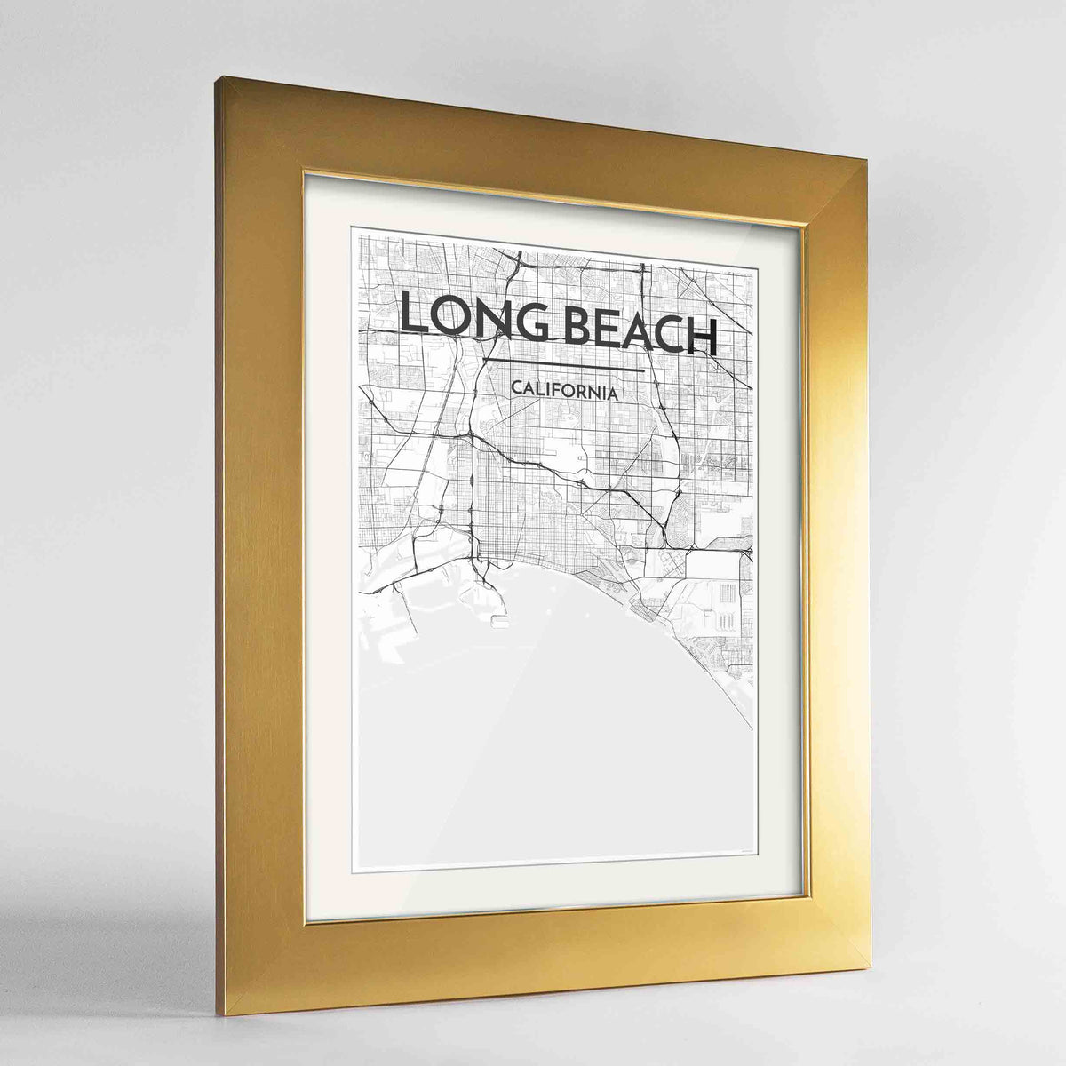 "Framed Long Beach Map Art Print 24x36"" Gold frame Point Two Design Group"