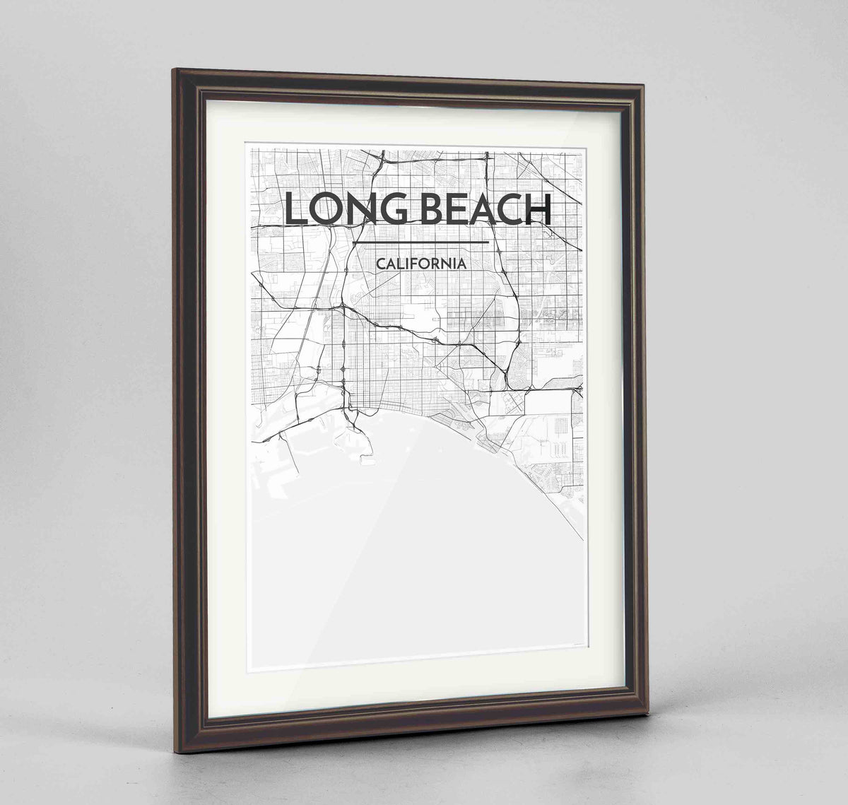 "Framed Long Beach Map Art Print 24x36"" Traditional Walnut frame Point Two Design Group"