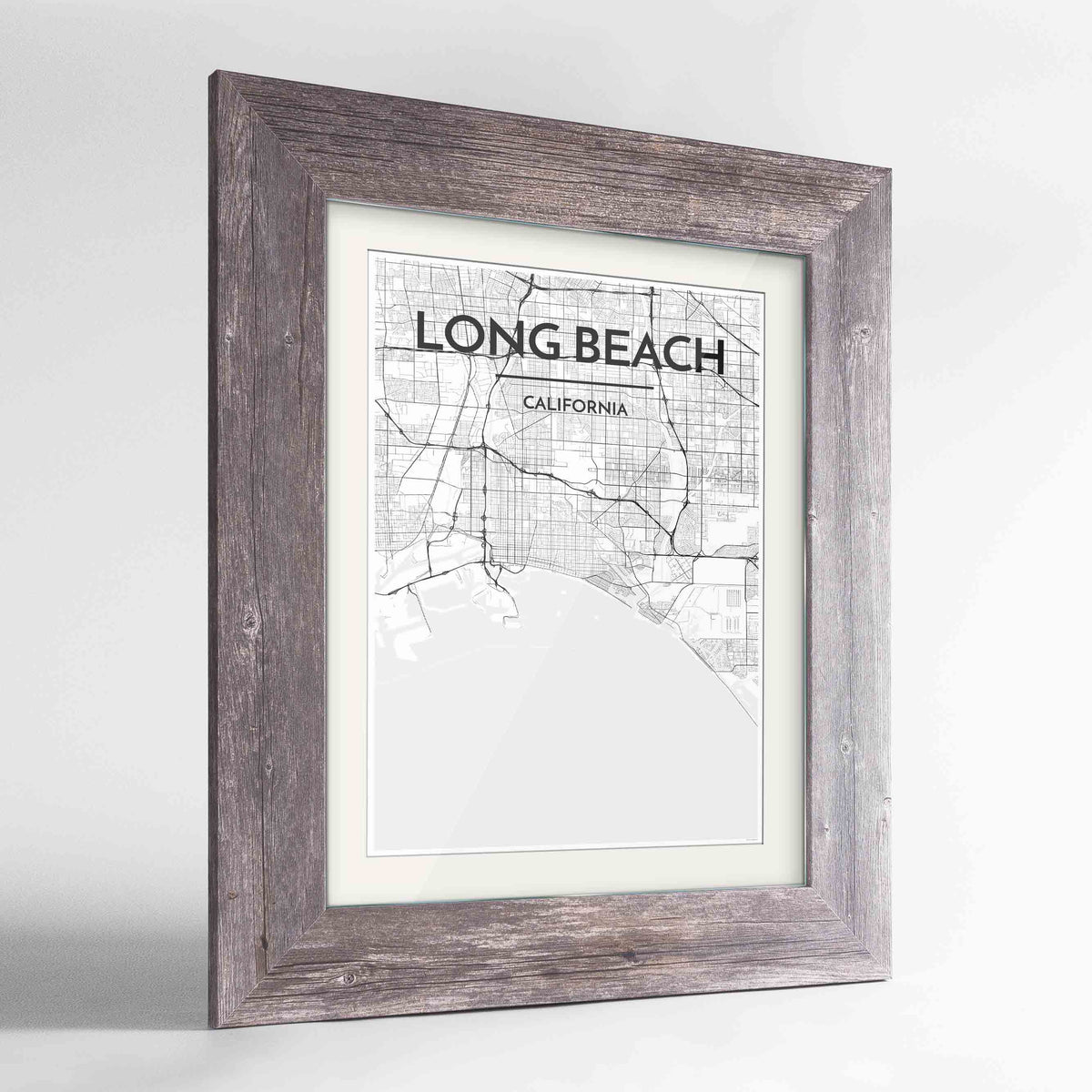 "Framed Long Beach Map Art Print 24x36"" Western Grey frame Point Two Design Group"