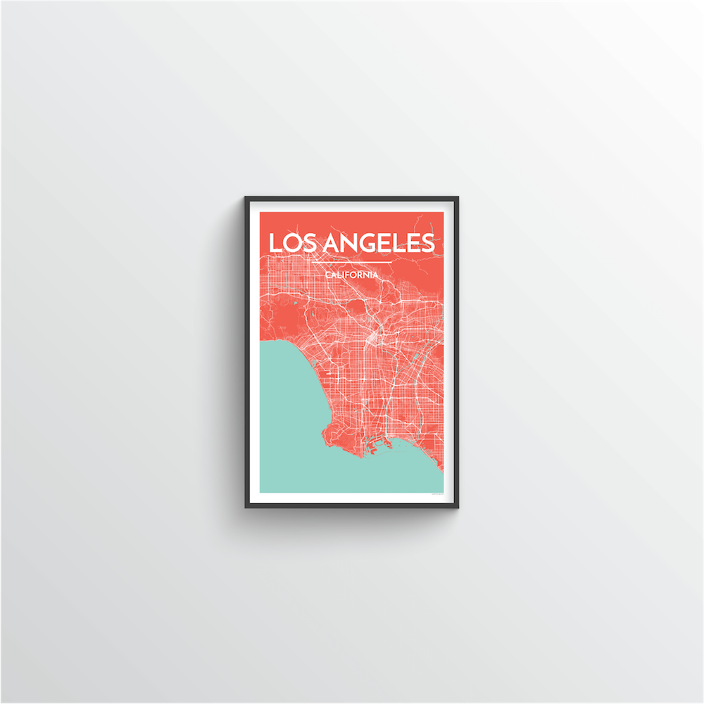 Los Angeles City Map Art Print - Point Two Design - Black & White Print