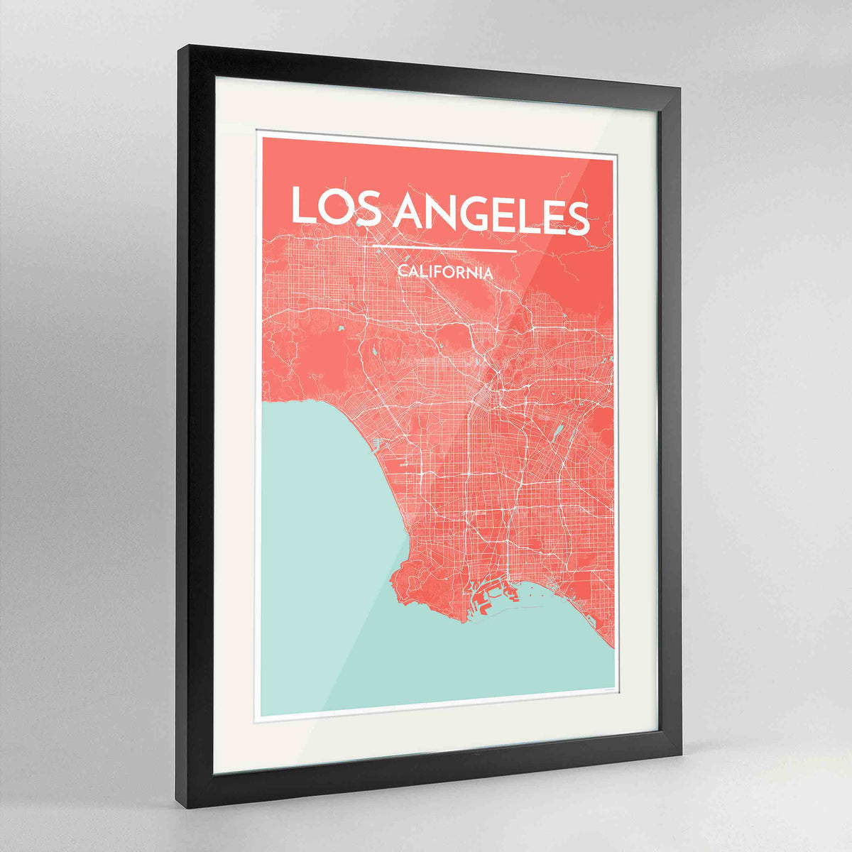 "Framed Los Angeles Map Art Print 24x36"" Contemporary Black frame Point Two Design Group"