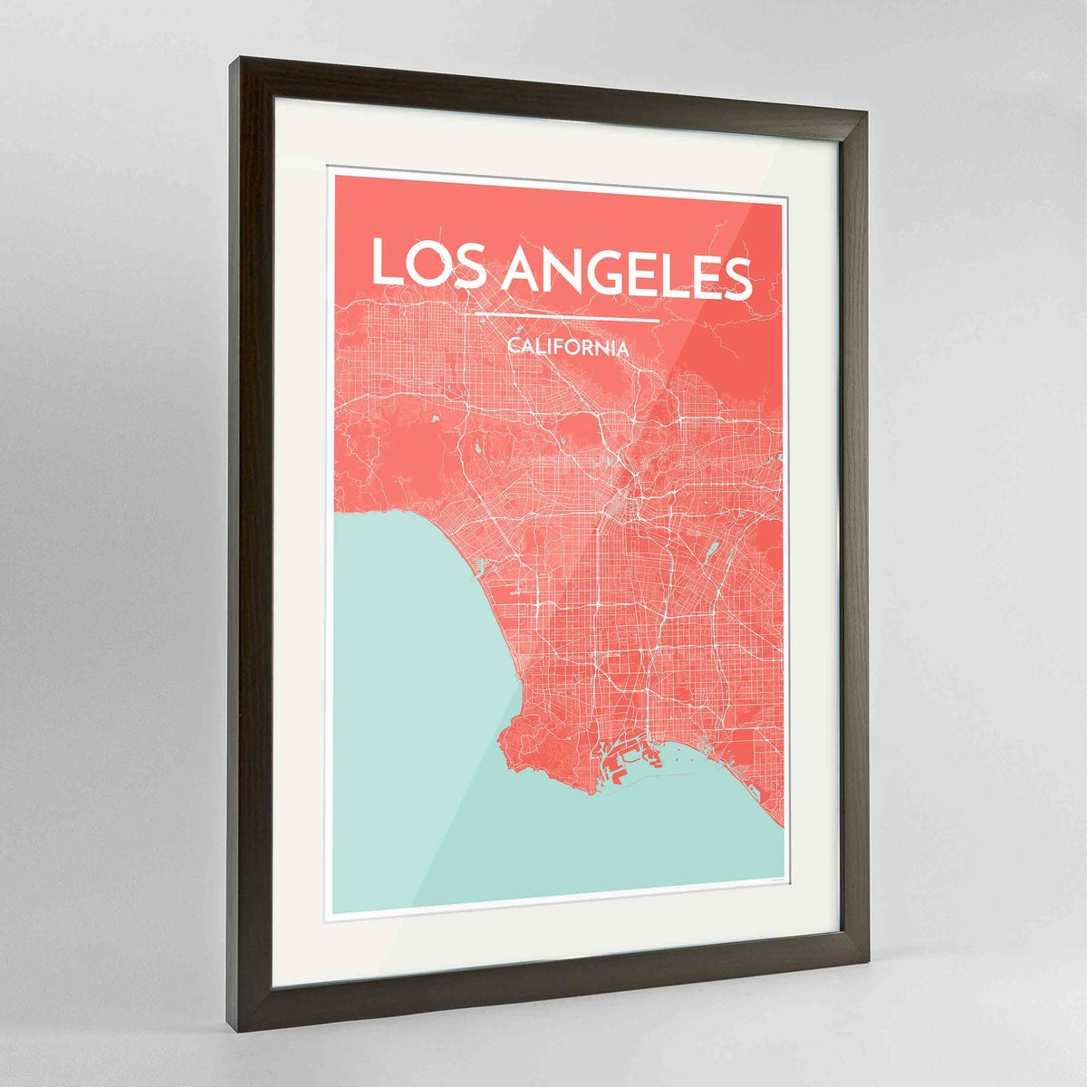 "Framed Los Angeles Map Art Print 24x36"" Contemporary Walnut frame Point Two Design Group"
