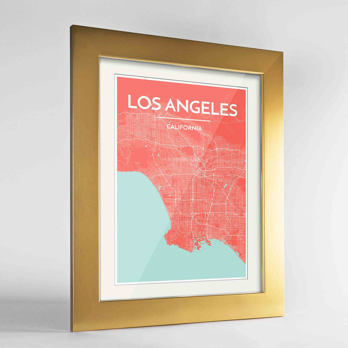 "Framed Los Angeles Map Art Print 24x36"" Gold frame Point Two Design Group"