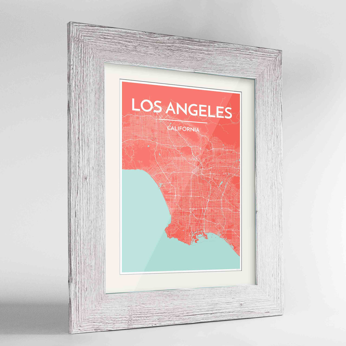 "Framed Los Angeles Map Art Print 24x36"" Western White frame Point Two Design Group"