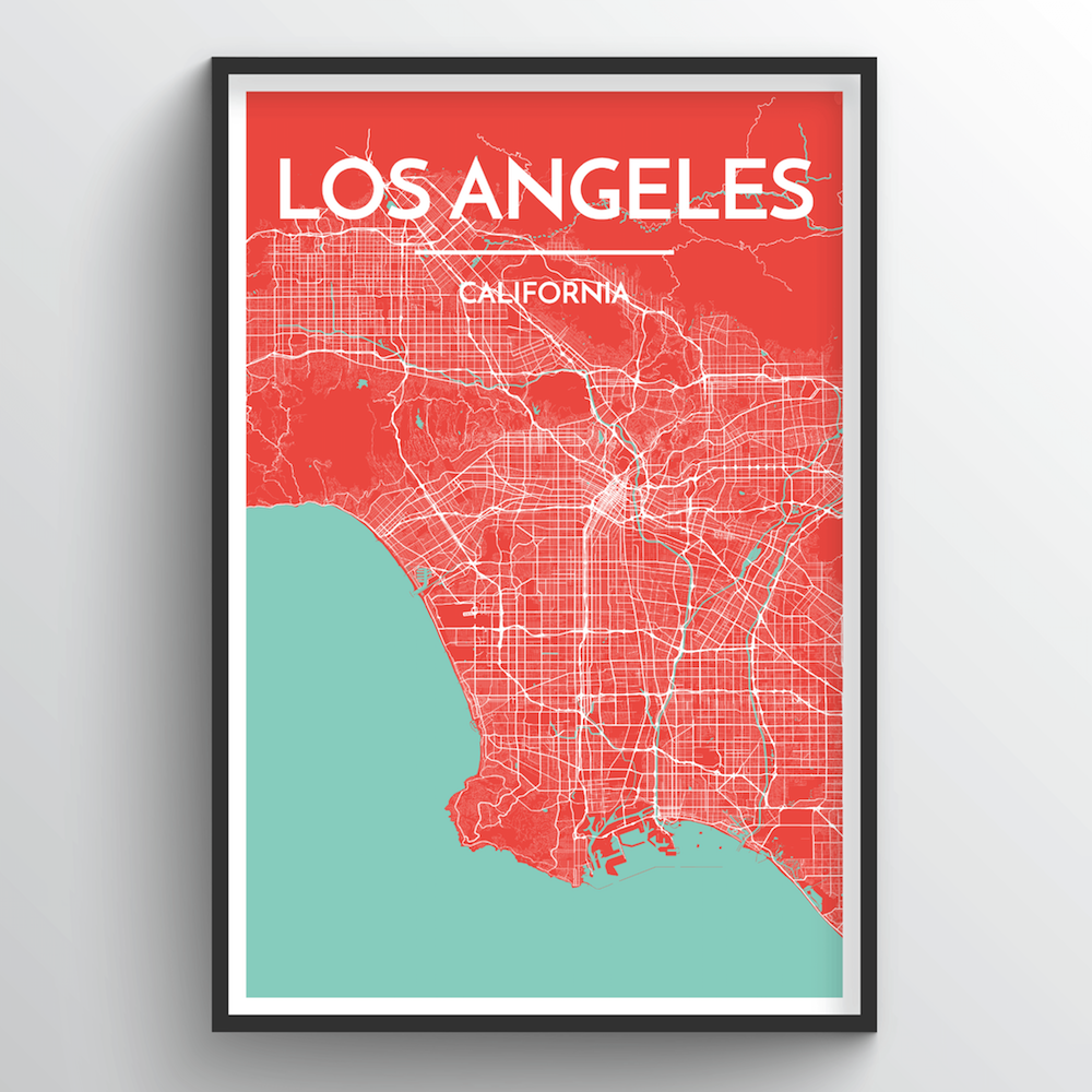 photograph regarding Printable Map of Los Angeles known as Los Angeles Map Artwork Print