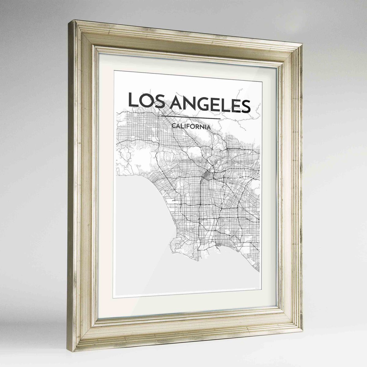 "Framed Los Angeles Map Art Print 24x36"" Champagne frame Point Two Design Group"