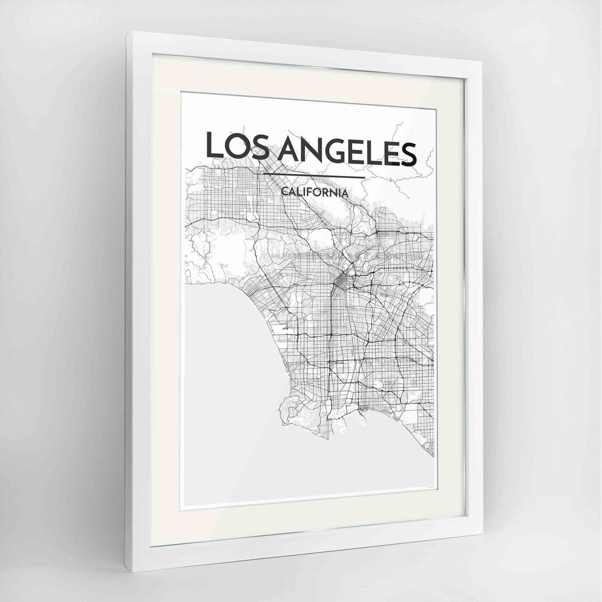 "Framed Los Angeles Map Art Print 24x36"" Contemporary White frame Point Two Design Group"
