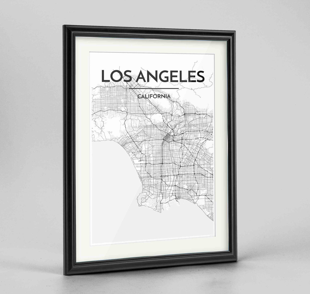 "Framed Los Angeles Map Art Print 24x36"" Traditional Black frame Point Two Design Group"