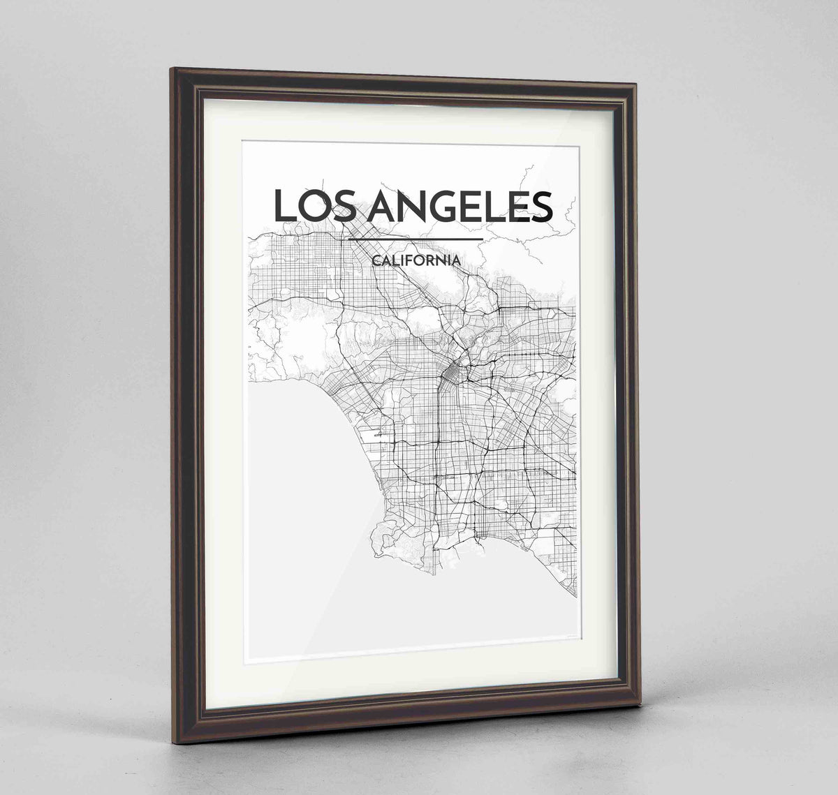 "Framed Los Angeles Map Art Print 24x36"" Traditional Walnut frame Point Two Design Group"