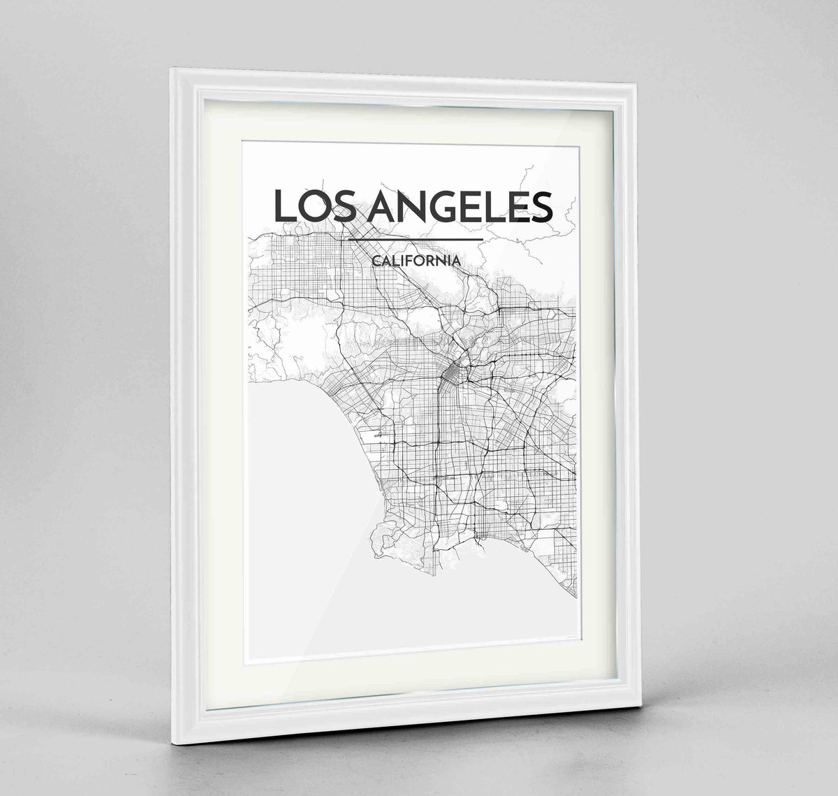 "Framed Los Angeles Map Art Print 24x36"" Traditional White frame Point Two Design Group"