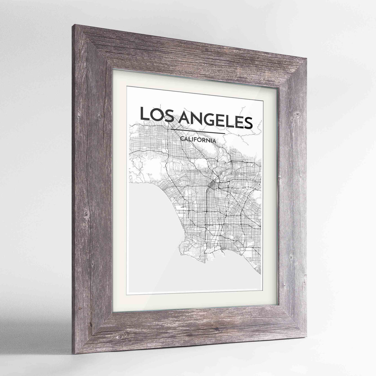 "Framed Los Angeles Map Art Print 24x36"" Western Grey frame Point Two Design Group"