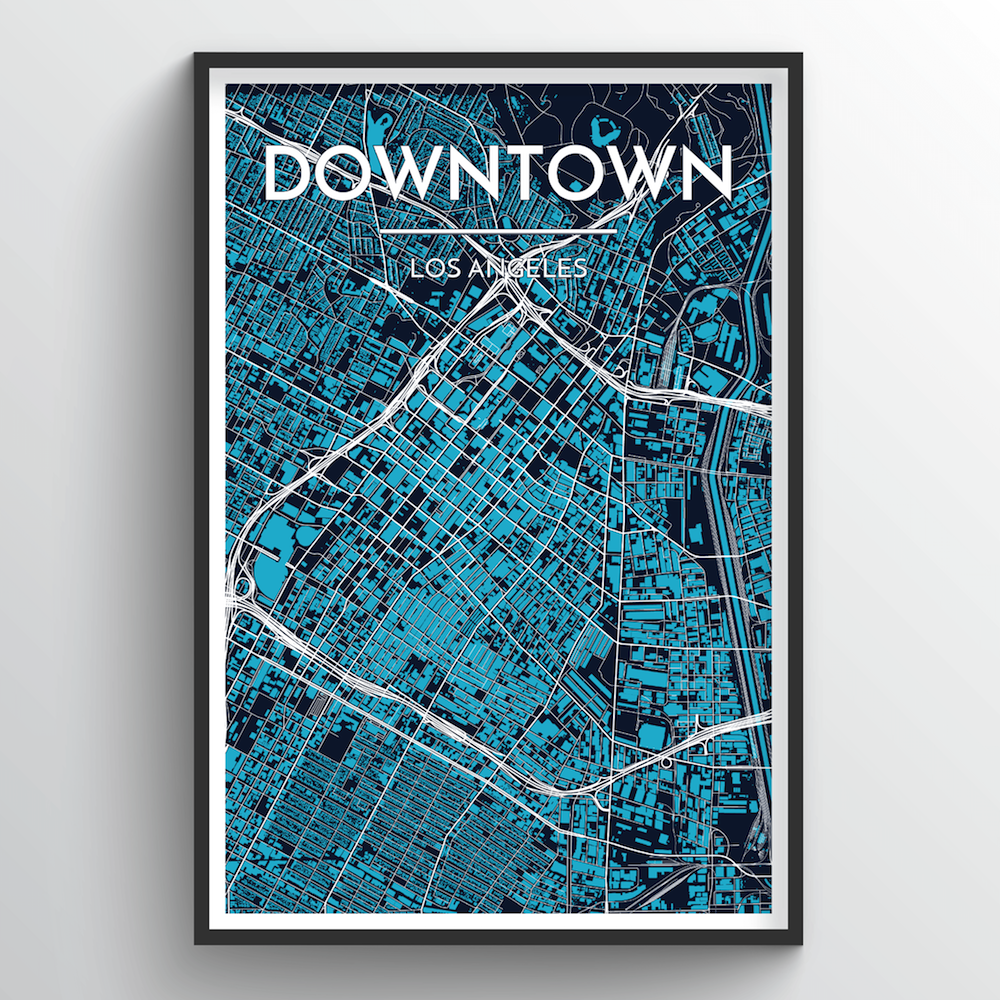 Los Angeles - Downtown City Map Art Print - Point Two Design