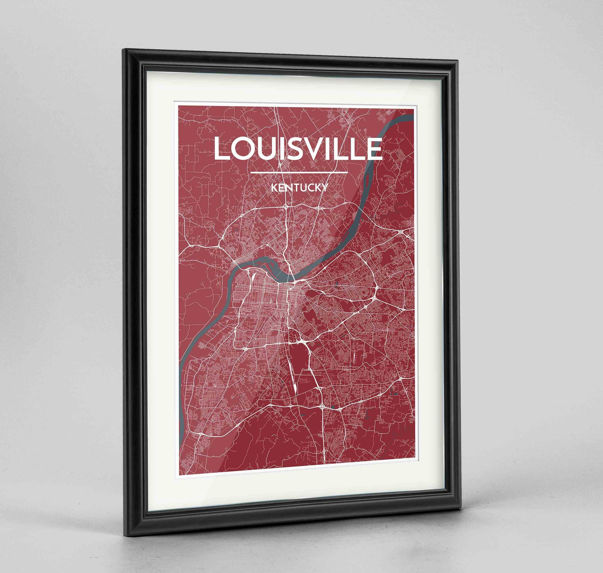 "Framed Louisville Map Art Print 24x36"" Traditional Black frame Point Two Design Group"