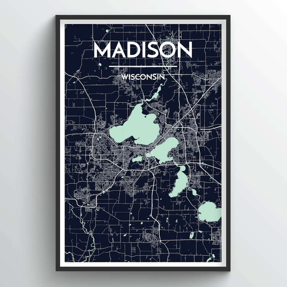 Madison City Map Art Print - Point Two Design