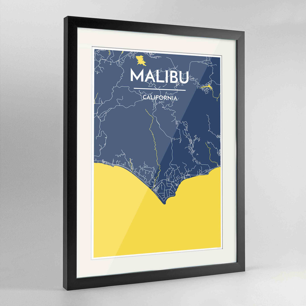 "Framed Malibu Map Art Print 24x36"" Contemporary Black frame Point Two Design Group"
