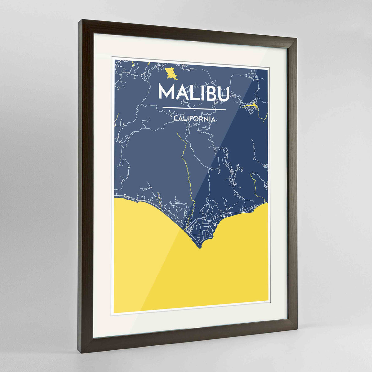 "Framed Malibu Map Art Print 24x36"" Contemporary Walnut frame Point Two Design Group"