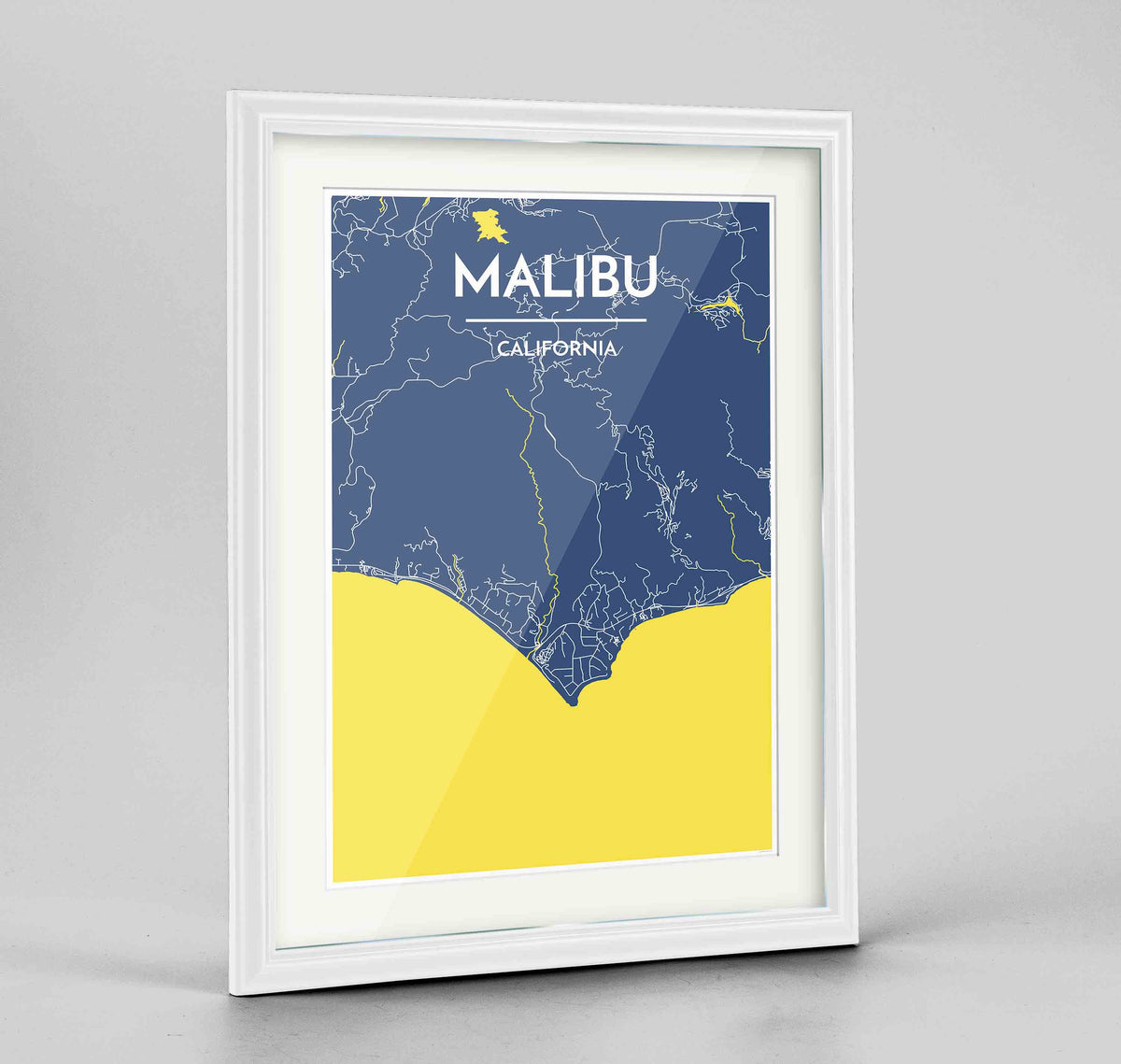 "Framed Malibu Map Art Print 24x36"" Traditional White frame Point Two Design Group"