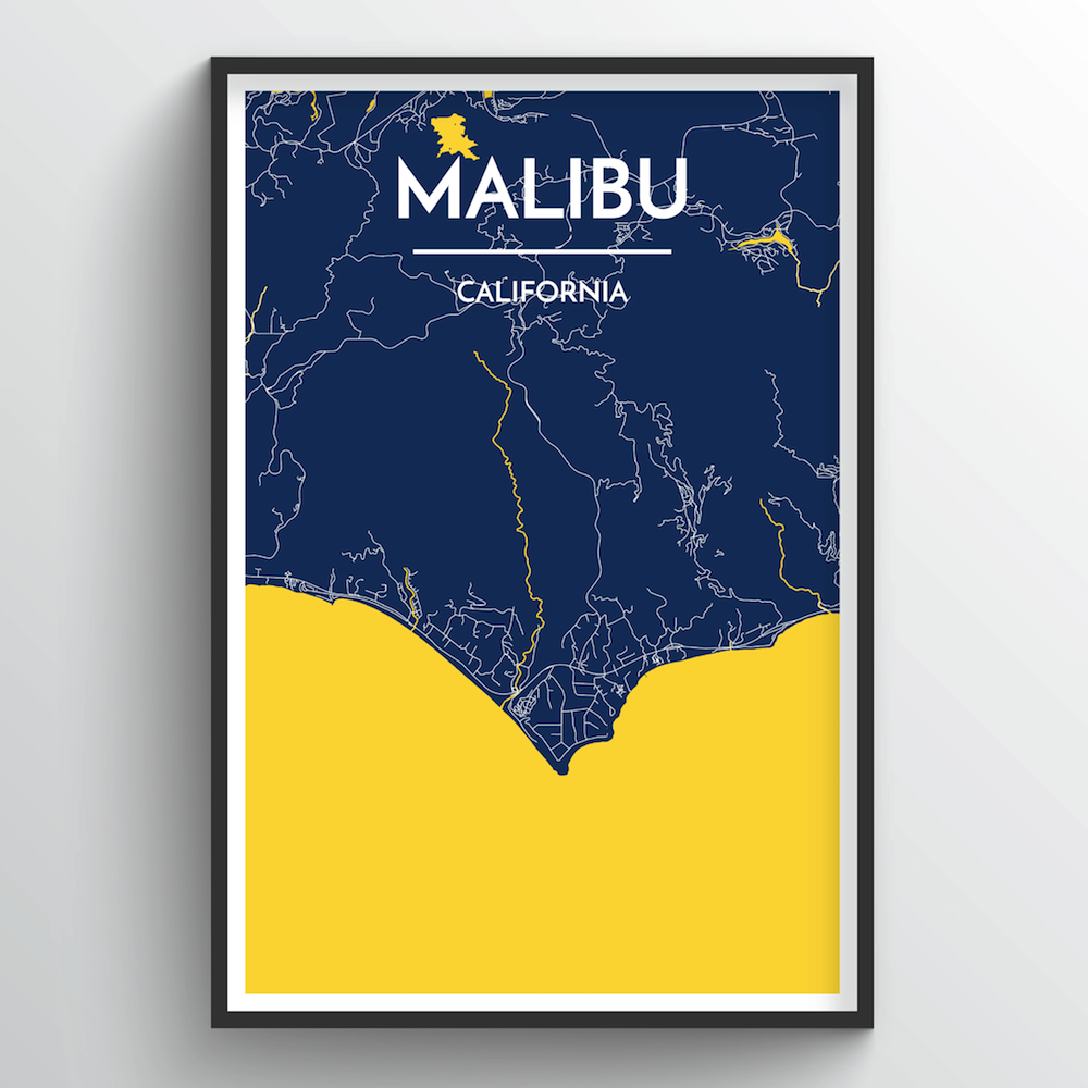 Malibu City Map Art Print - Point Two Design