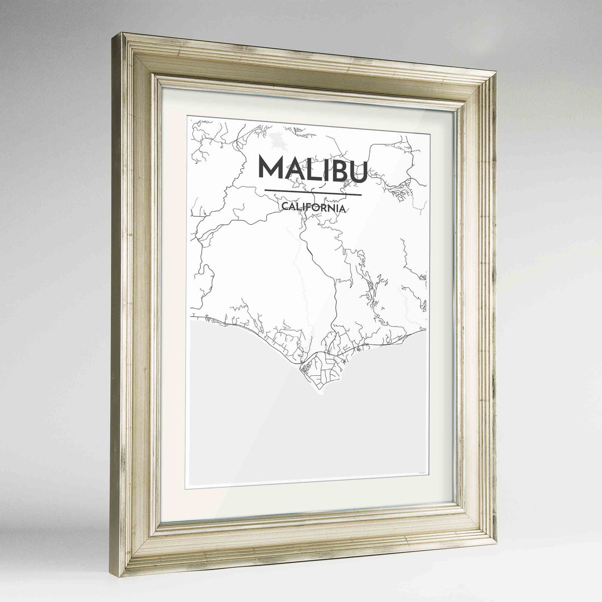 "Framed Malibu Map Art Print 24x36"" Champagne frame Point Two Design Group"