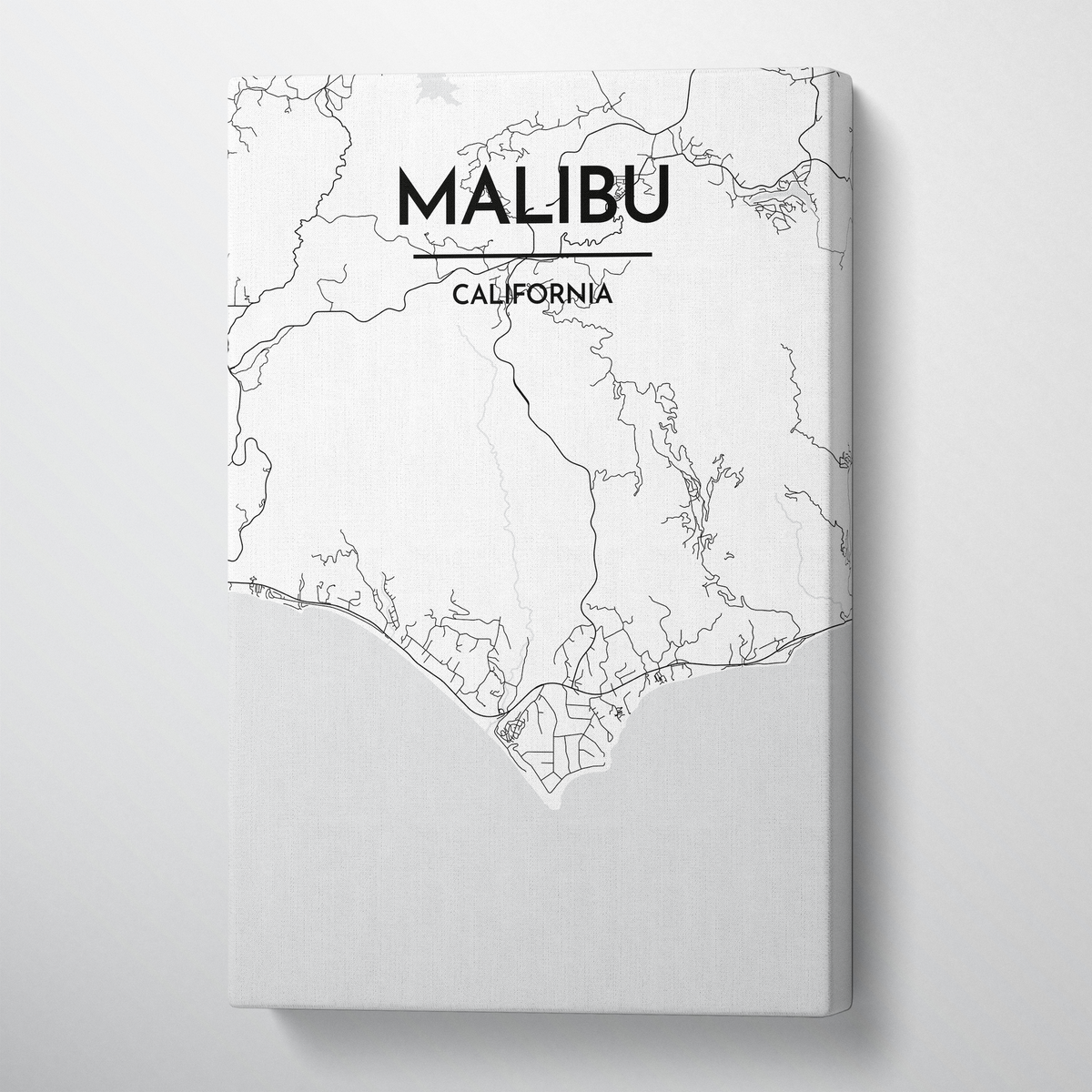 Malibu City Map Canvas Wrap - Point Two Design - Black & White Print