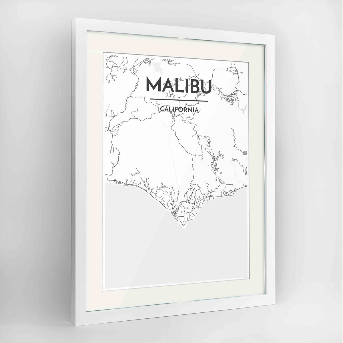 "Framed Malibu Map Art Print 24x36"" Contemporary White frame Point Two Design Group"