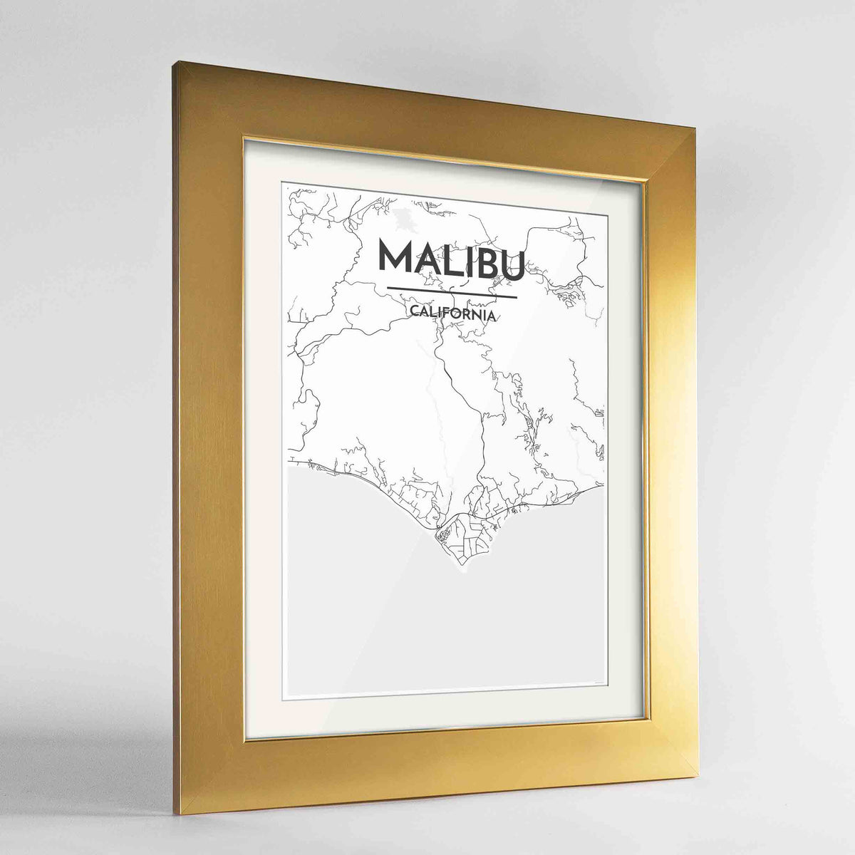 "Framed Malibu Map Art Print 24x36"" Gold frame Point Two Design Group"