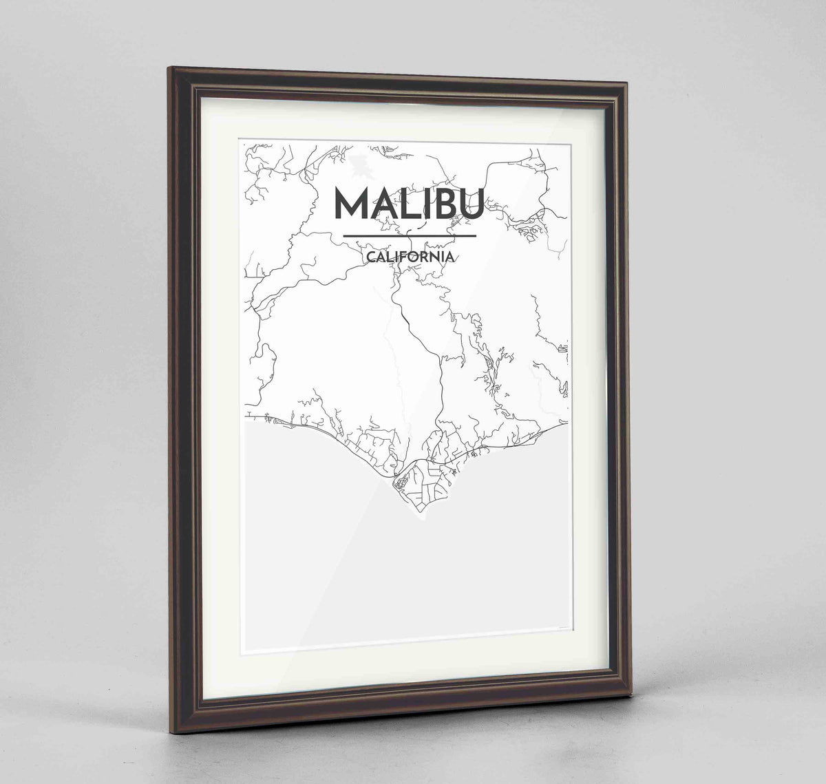 "Framed Malibu Map Art Print 24x36"" Traditional Walnut frame Point Two Design Group"