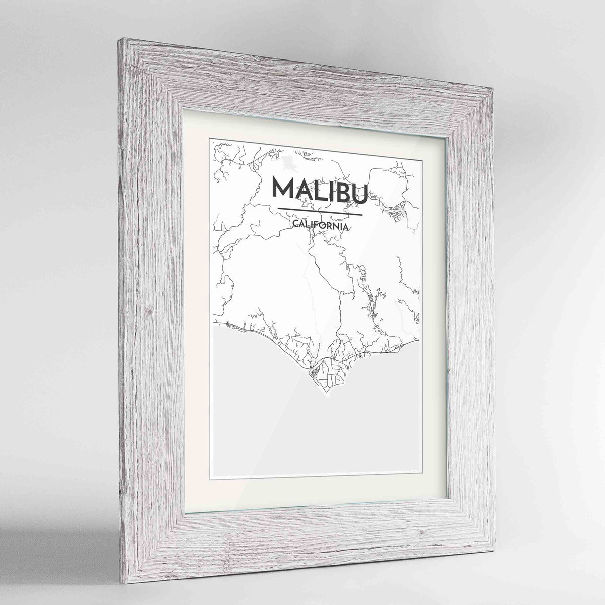 "Framed Malibu Map Art Print 24x36"" Western White frame Point Two Design Group"