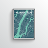Manhattan City Map Art Print - Point Two Design