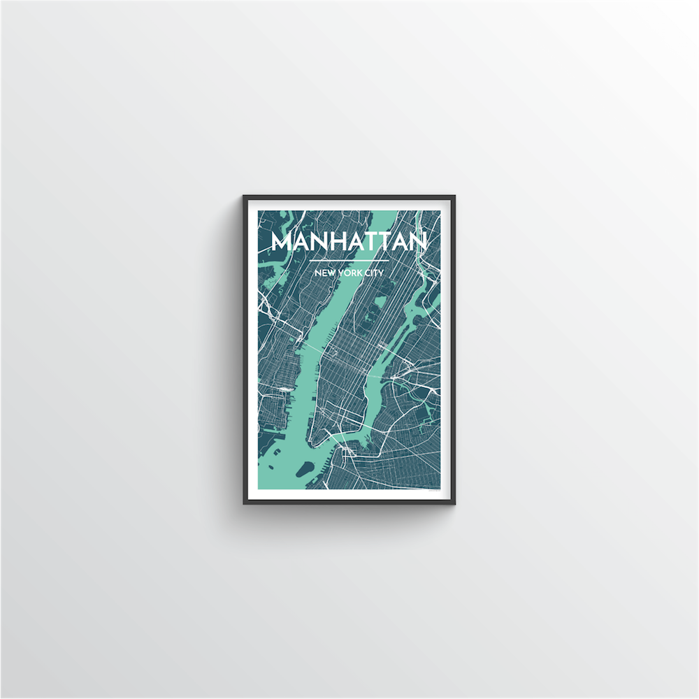 Manhattan Map Art Print - Point Two Design