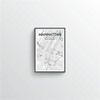 Manhattan City Map Art Print - Point Two Design - Black & White Print