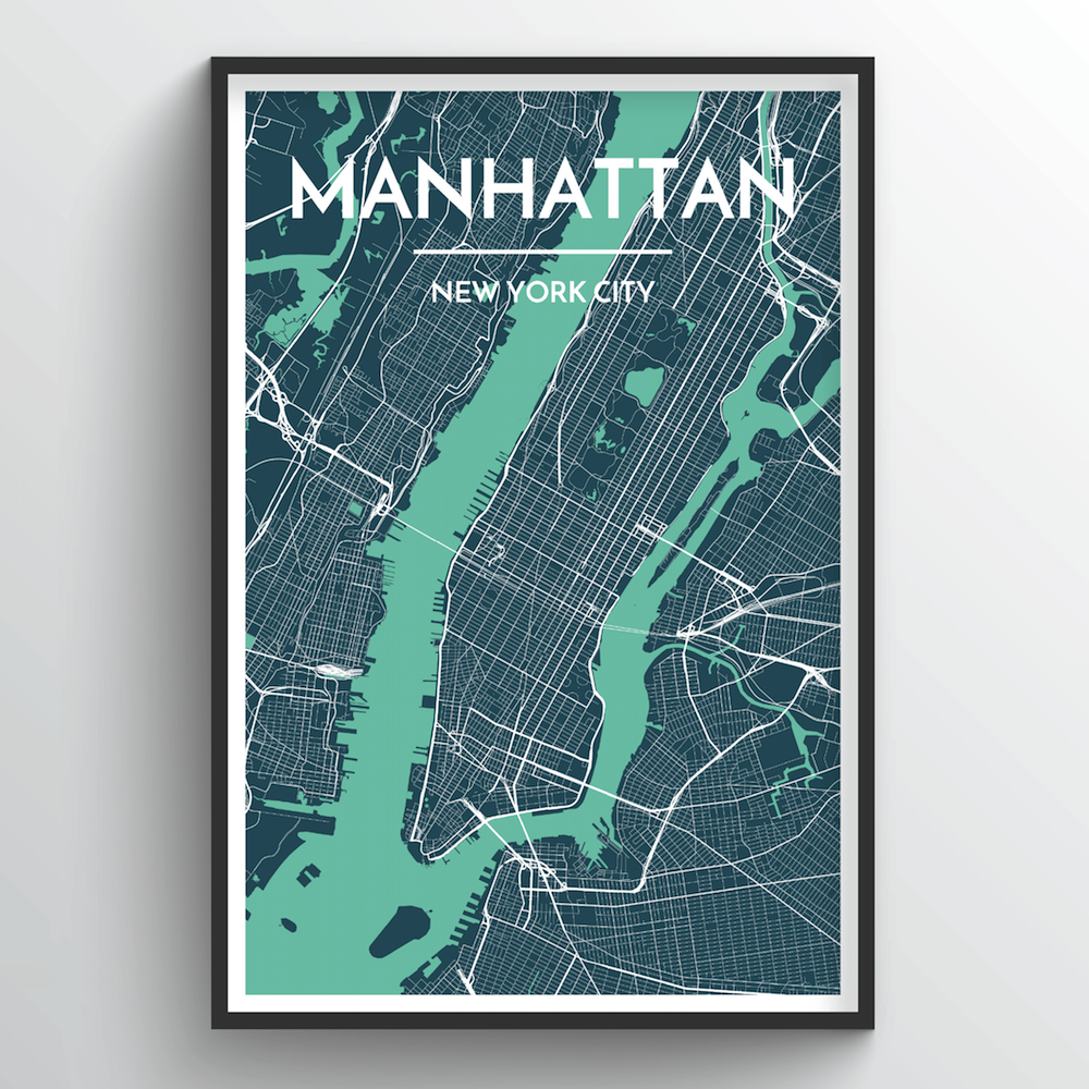 photo regarding Printable Map of Manhattan called Manhattan Town Map Artwork Prints - Substantial High quality Customized Manufactured Artwork