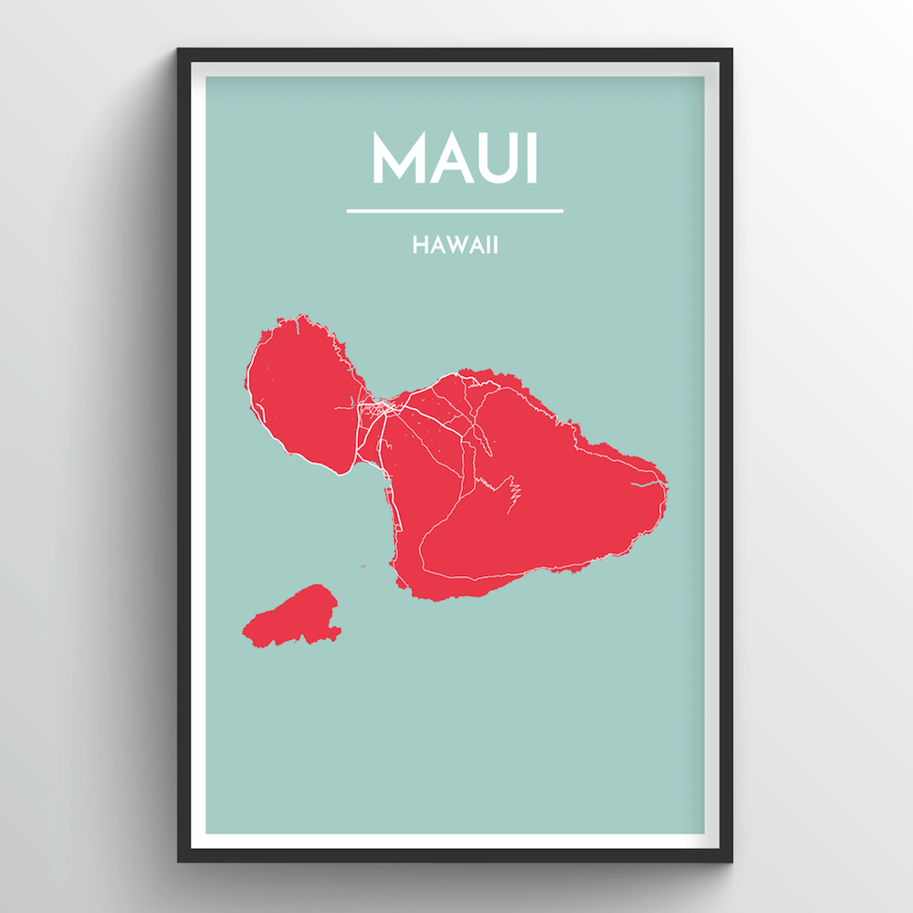 Maui City Map Art Print - Point Two Design