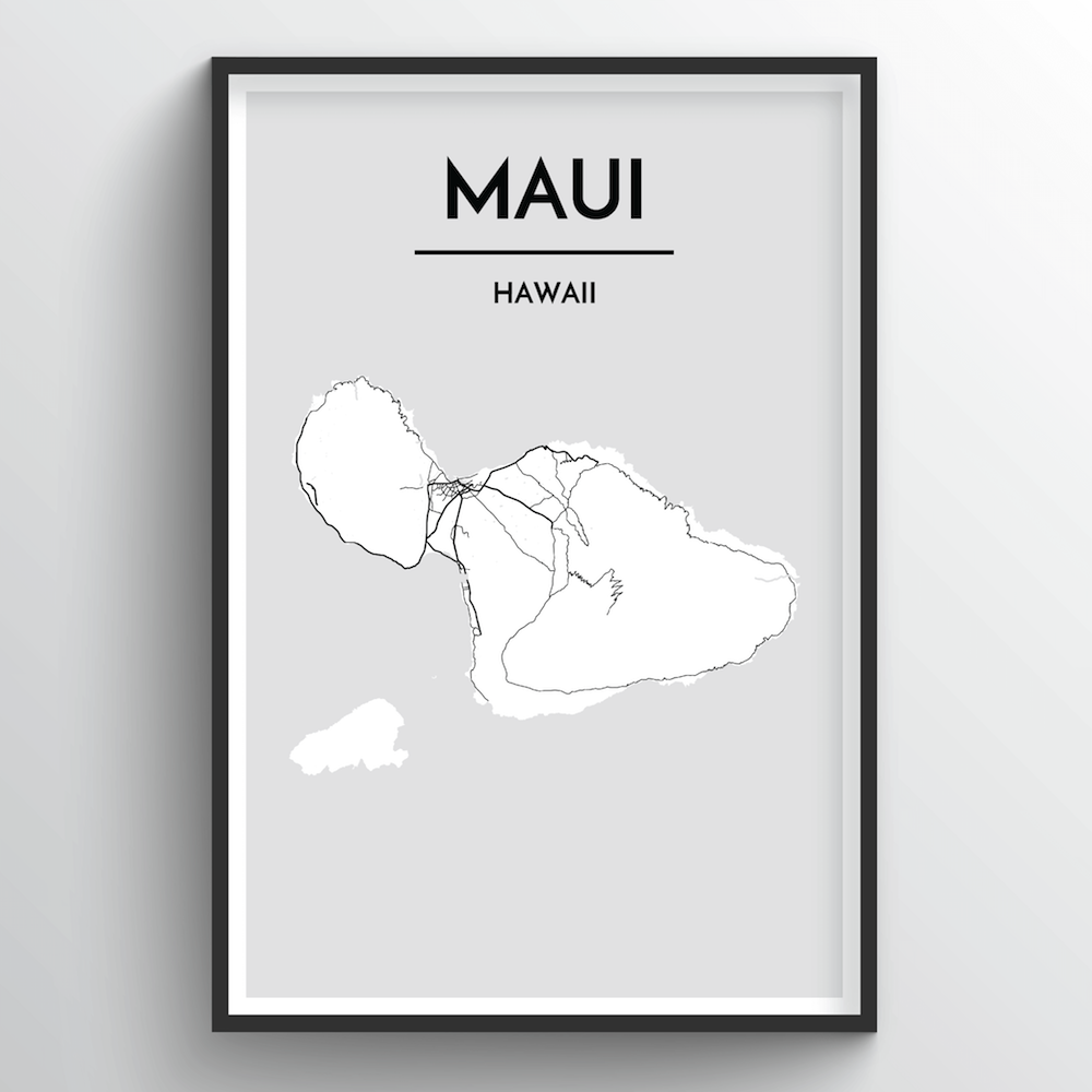 Maui Map Art Print - Point Two Design