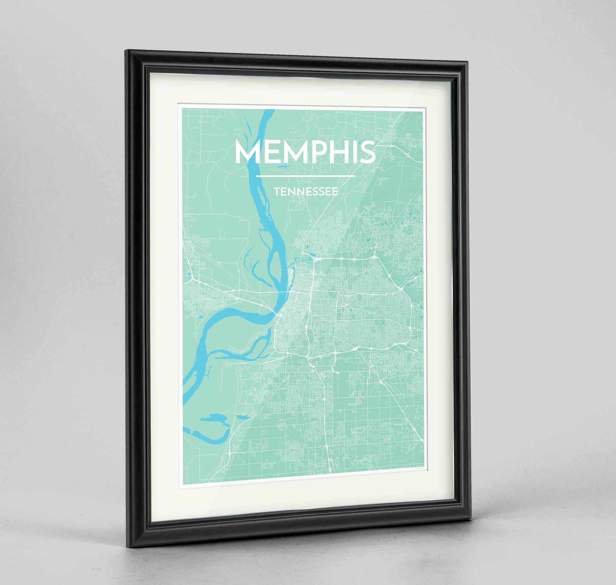 "Framed Memphis Map Art Print 24x36"" Traditional Black frame Point Two Design Group"