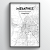 Memphis City Map Art Print - Point Two Design