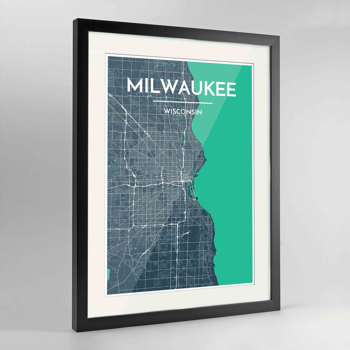 "Framed Milwaukee City Map 24x36"" Contemporary Black frame Point Two Design Group"
